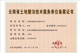 云南省土地整治技术服务单位备案证书